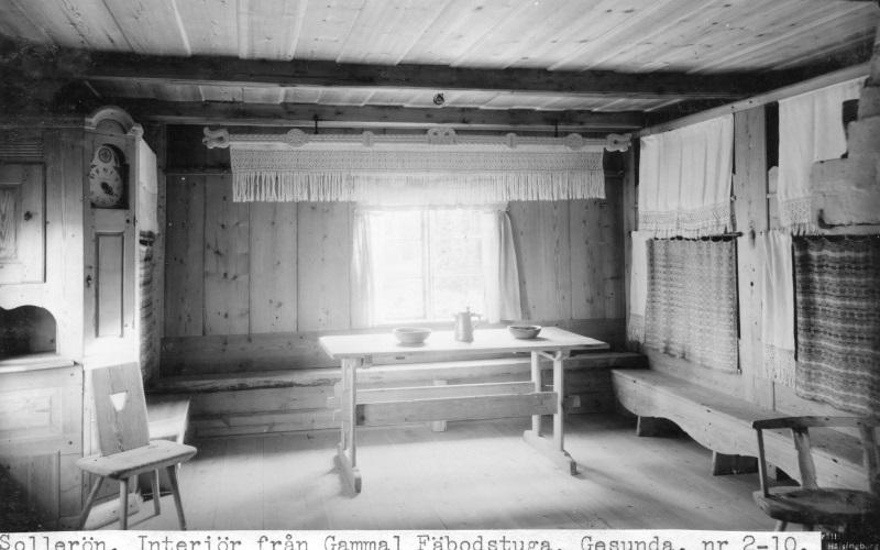 Interiör av gammal stuga i Gesunda